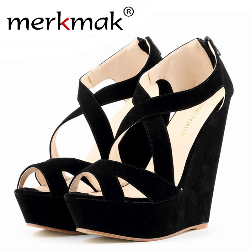 ca507f445a7f4b 2016 new female sandals women wedges platform shoes summer vintage heeled  open Toe sandal High heels ankle strap wedding shoes