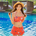 2016 Cute Girls Bikini Sets Sexy Swimwear Women 3 Piece Bathing Suits Push Up Beach Wear
