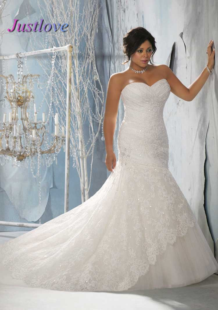 Top Online Sweetheart Sleeveless Strapless Lace Plus Size ...