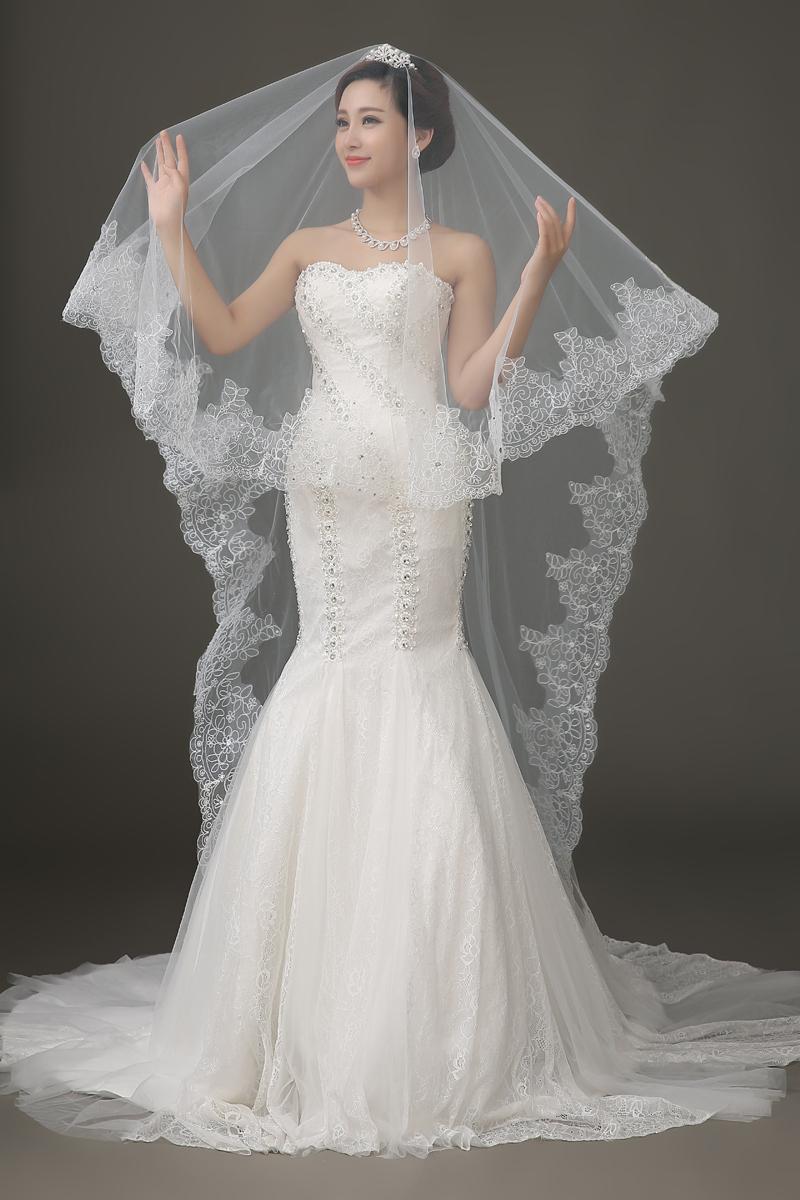 Lace Edge Rhinestone Wedding Veil One Layer Bridal Veil ...