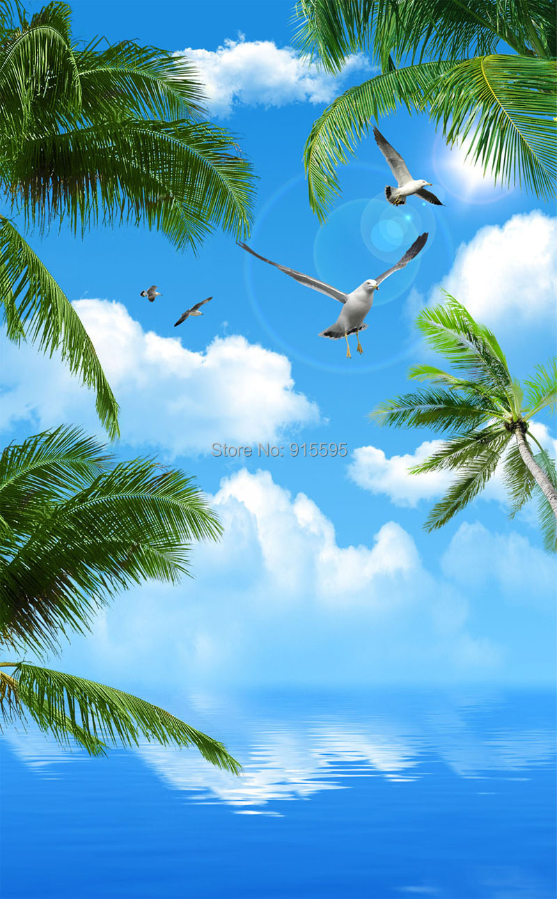 Kustom 3d Foto Wallpaper Langit Biru Laut Pohon Kelapa Burung Laut Ruang Tamu Langit Langit Non Woven Dinding Lukisan Dinding Wallpaper 3d