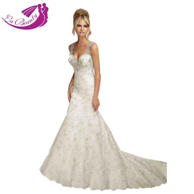 Lace Fit And Flare Wedding Gown: Custom Made Open Back Bridal Gowns Dresses Straps Fit And