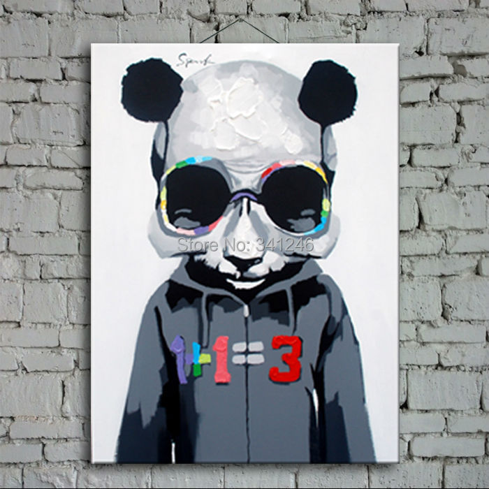 Hand-painted modern wall art picture for living room home decor abstract cool panda cartoon animal oil painting on canvas framed