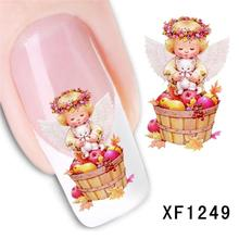 XF nail stickers nail art stickers flower simulation watermark brush cost XF1249