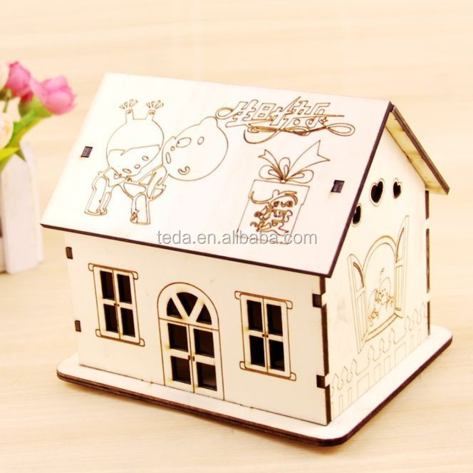 Diy Miniature Doll House Flat Packed Cardboard Kit Mini: Wholesale Flat Pack Diy Laser Cut Wooden Doll House