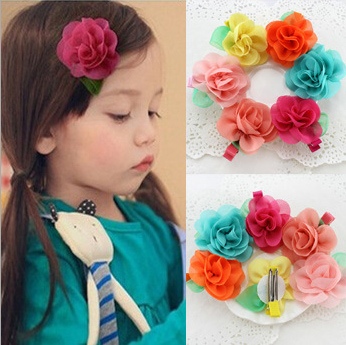 30pcs Europe US Hot Gauze Leaf Rose Flower Kids Girl Hairpin font b Fancy b font