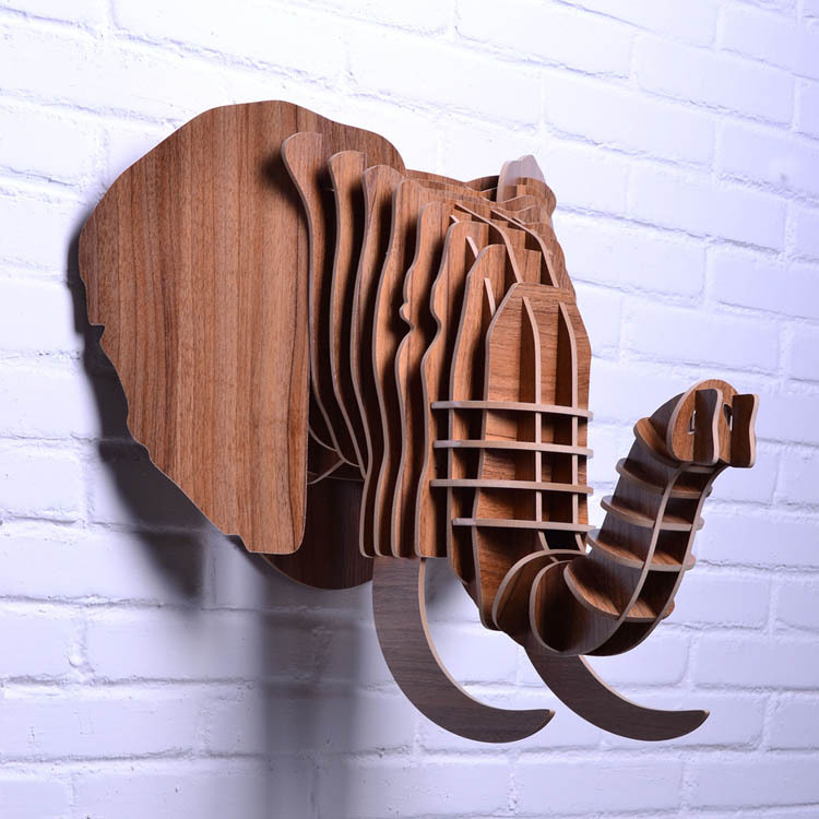 Animal Home Decor: Aliexpress.com : Buy DIY Wooden Elephant Head For Wall