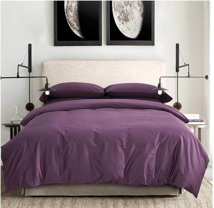 100 egyptian cotton sheets dark deep purple bedding sets king queen size quilt duvet cover bed. Black Bedroom Furniture Sets. Home Design Ideas