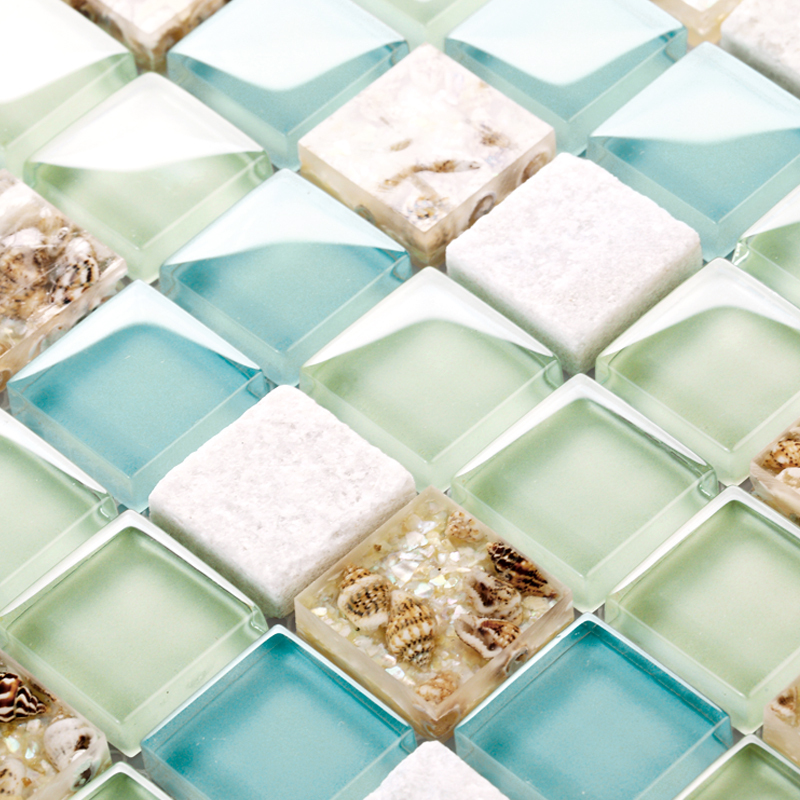 Sea Glass Tiles Kitchen