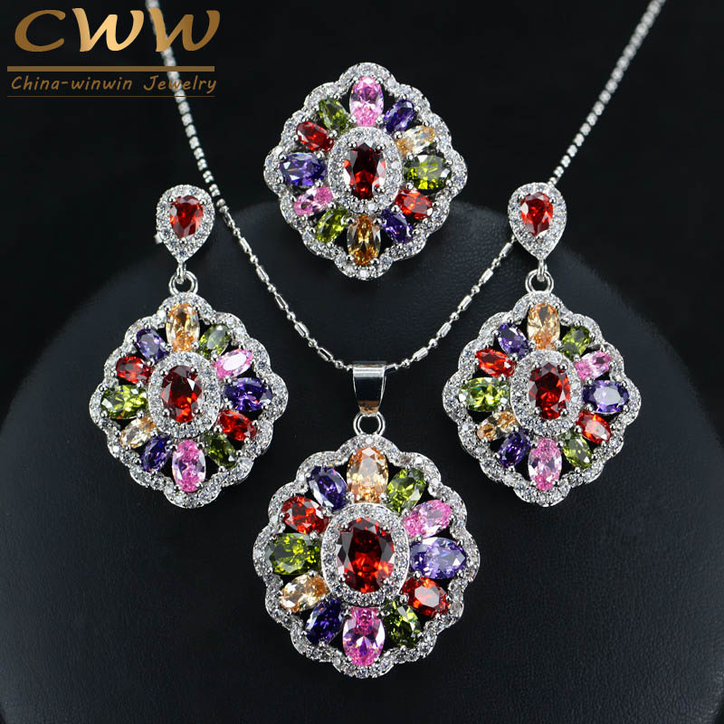 Cubic Zirconia Indian Silver 925 Jewelry Sets For Women