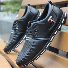 New Fashion Male Casual Leather Shoes Black White Mens Pointed Toe Lacing Flat Shoes Sapatos Masculinos Social  2A