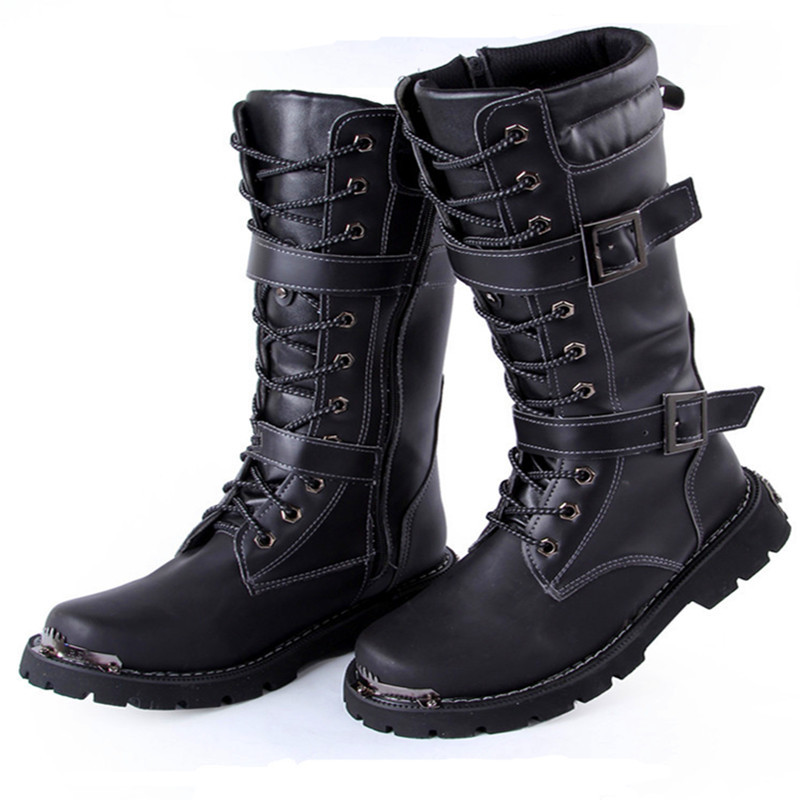 MS023 Free Shipping Knee High Zip in the side Italy PU ...