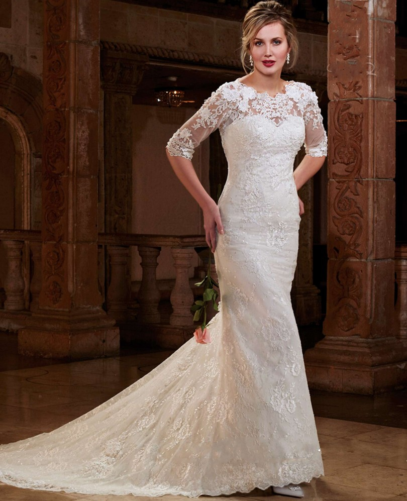 Mermaid Style Lace Wedding Gowns: Stunning Lace Wedding Dresses Mermaid Style Half Sleeve