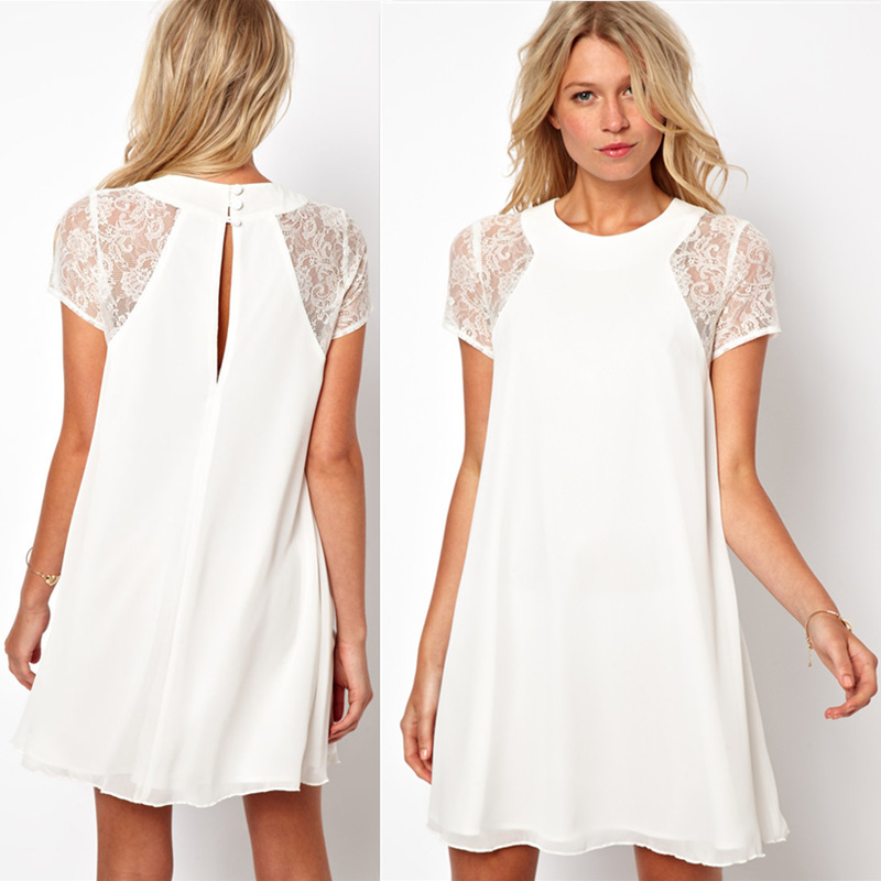 2015 Summer women clothing lace short sleeve white back ...