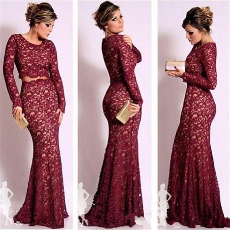 2015 New Elegant Full Long Sleeves Mermaid Wedding Dresses: 2015 Sexy Burgundy Long Sleeve Lace Mermaid Evening
