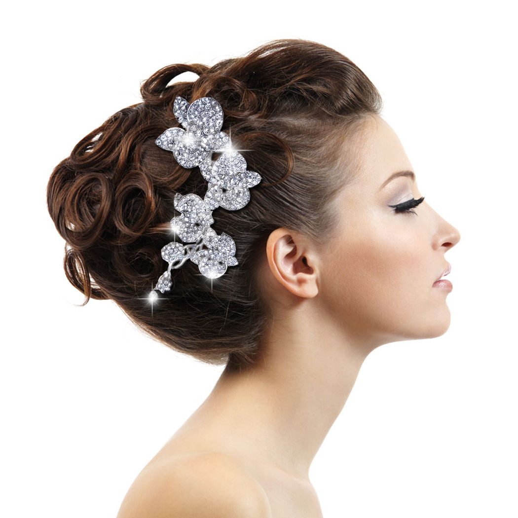 Wedding Hairstyles With Hair Jewelry: Luxury Wedding Orchid Flower Hair Comb Tiara Clear