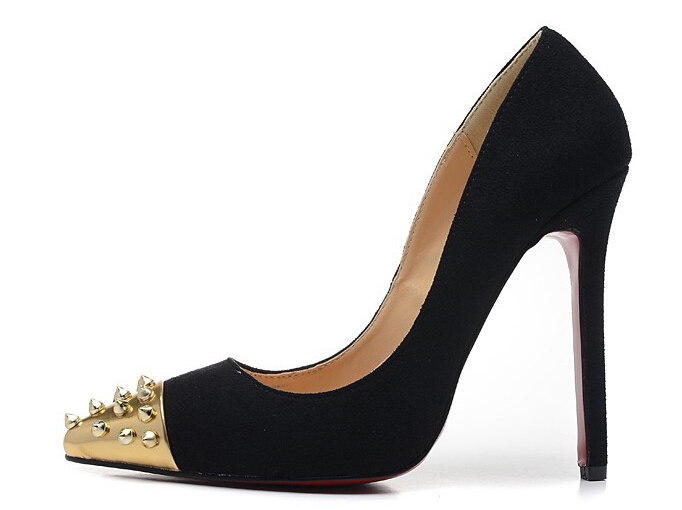 Women's 12cm High Heels Suede Gold Spikes Pointed Toe Red Bottom Pumps,Ladies Luxury ...