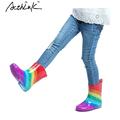 ActhInK New 2016 Kids Rainbow Rainboots Girls Striped Patch Antiskid Wellies Children Autumn Rain Boots Boys
