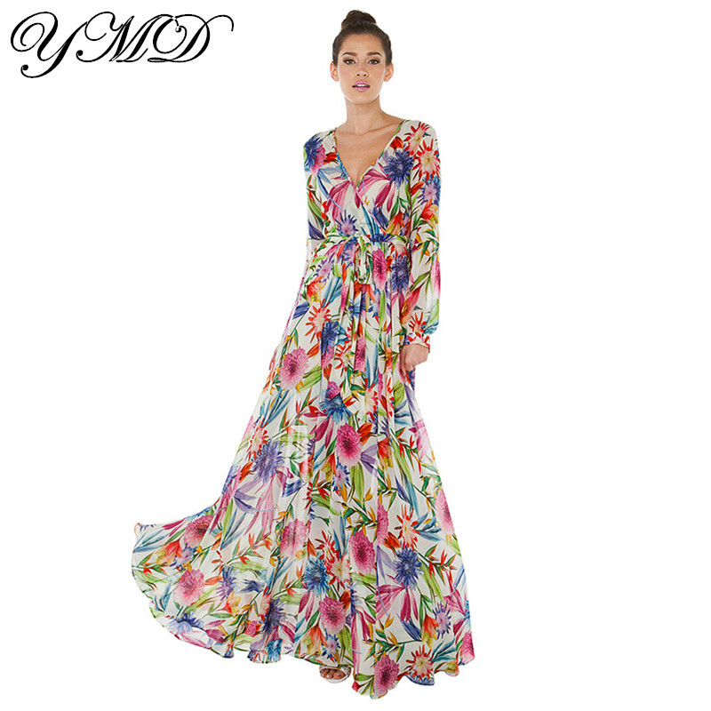 flower print sexy v neck long sleeve chiffon maxi dress ...