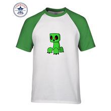 9a679a2d47a8a 2017 vente Chaude Couleur de Mélange De Mode Casual Minecraft Chibi Creeper  Jeu Vert de Bande Dessinée drôle t shirt pour hommes.