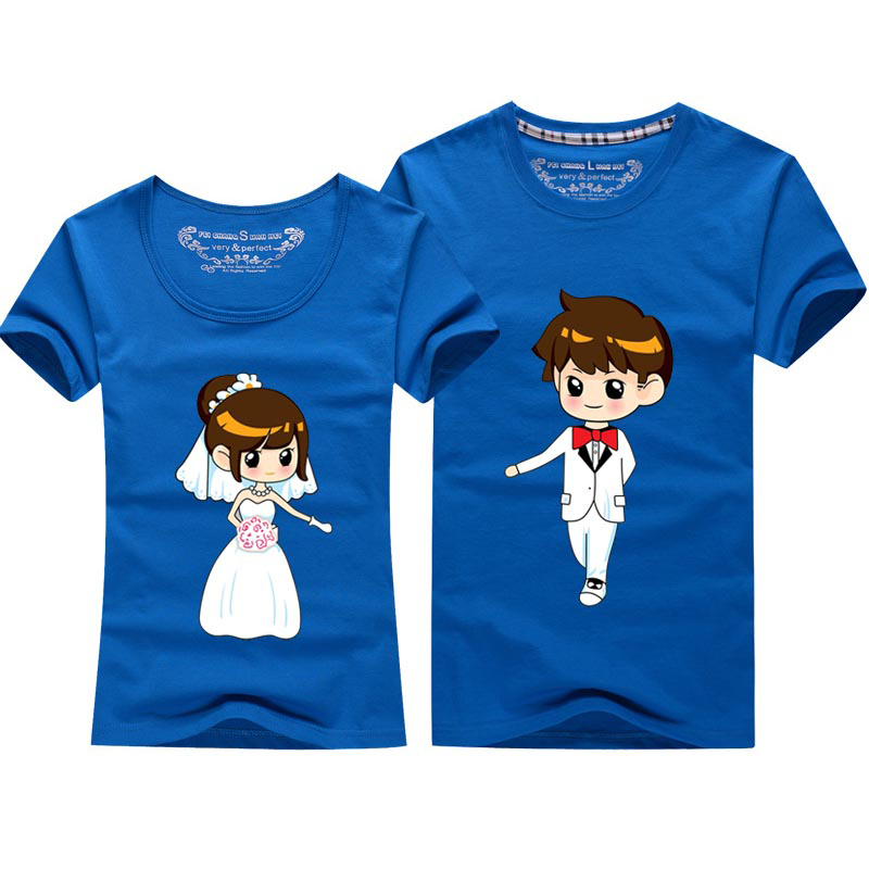 Cartoon Couple Design Tees Shirts Couple Tee Tops T Shirt: 2015 New Style Couple T Shirt For Wedding Mens And Womens