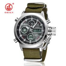 Luxo OHSEN Esporte Militar Relógio Dos Homens da Correia de Lona Verde Homem de Alta Qualidade Relógios de Pulso Relogio masculino Relojes Hombre