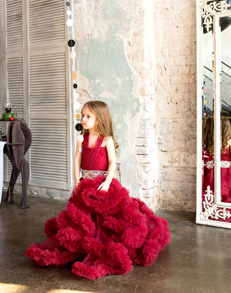 Cloud little flower girls dresses for weddings Baby Party frocks sexy children images Dress kids prom dresses evening gowns 2016 6