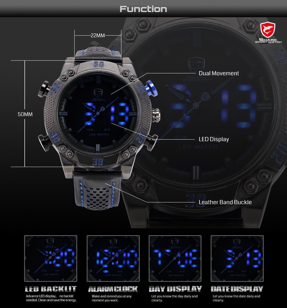 7af68460e75 Shark Brand Sports Watches Black Blue Dual Time Auto Date Alarm ...