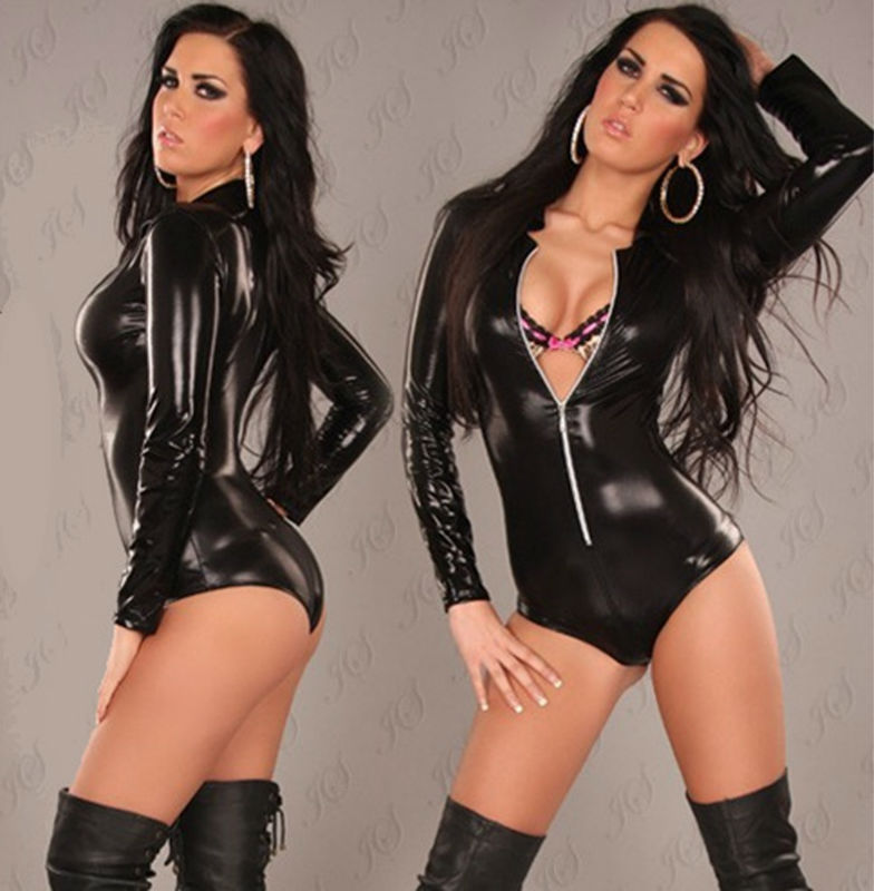 df044aeff Wholesale Black Leather Sexy Lingerie Sexy Body Suits For Women PVC ...