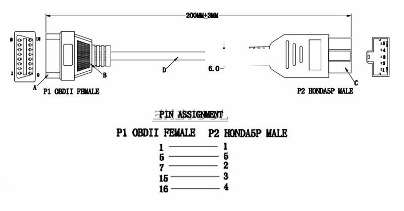 New OBD Adapter For Honda 5Pin OBD1 to OBD2 16Pin Female Diagnostic  Connector For Honda 5 Pin OBD II Extension Cable