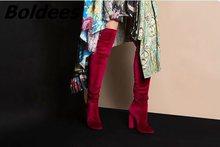 Модные женские Мягкие вельветовые облегающие высокие сапоги на блочном каблуке; Соблазнительные модные сапоги-ботфорты на высоком каблуке...(Китай)