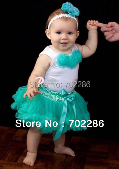 New arrival baby clothing set Baby tutu sets turquoise newborn t shirt and pettiskirts and headband baby clothing 3 pieces