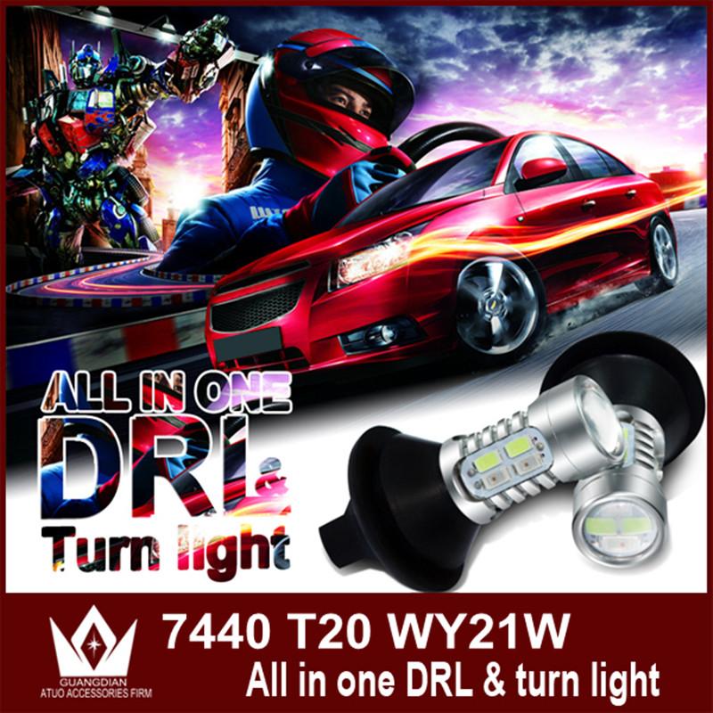 Ночь властелин колец T20 7440 WY21W уинкер мигалка drl из светодиодов дневного света и передние поворотники все в одном