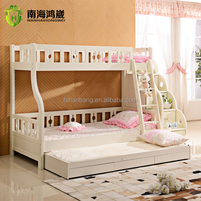 Cheap New Beds: 3 Level Kids Wooden Mdf Pull Out Bunk Bed Furniture With