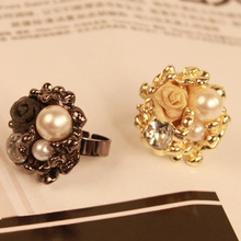 Imitation pearls elegant atmosphere in Europe and America rose ring opening wholesale fashion personality