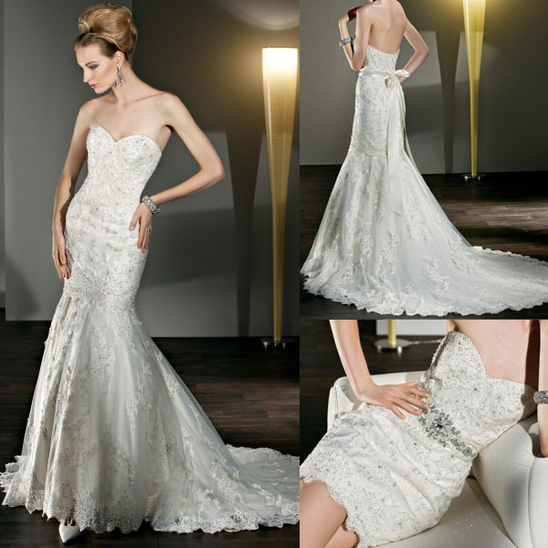 Strapless Mermaid Wedding Gown: New Style WD062 Beaded Strapless Sweetheart Mermaid Lace