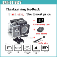 2016 SJ4000 HD 1080P 10MP Waterproof Camcorder Extreme Outdoor Mini Sports DV Action Record go pro Camera Two battery + monopod