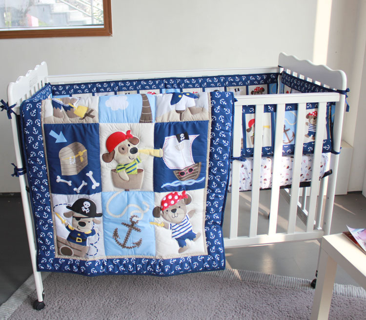 cool dogs caribbean pirate 4pc baby boy crib bedding set applique quilt bumpers sheet dust. Black Bedroom Furniture Sets. Home Design Ideas
