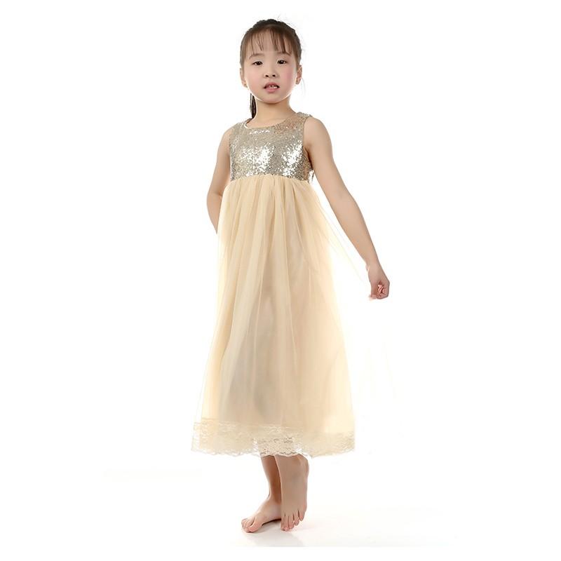 55d4f0d2ff16 2019 Flower Girls Long Maxi Dress Children Gold Sequin Cream Tulle ...