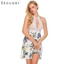 Ночная рубашка Ekouaer Женская, кружевная, с высокой талией, без рукавов(Китай)