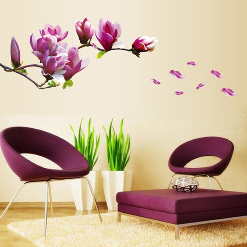 New Qualified Fresh Nature Magnolia Flower Wall Sticker Decal Removable PVC Wall Sticker Home Decor dec21