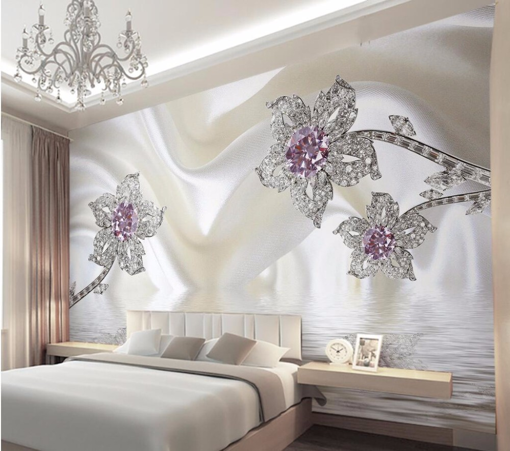 Custom Any Size Modern Wall Wallpaper Pearl Butterfly Silk: Wholesale Wallpapers Home Decor Photo Background Wall