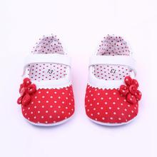 2016 Newborn Baby Girl Shoes Spring Summer Dots Flower Pink Cotton Shoes Infant Toddler First Walker