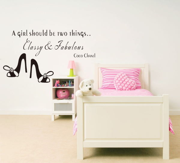 * 8380 A girl should be Classy and Fabulous quote wall stickers Rose vinyl home decoration wall sticker adesivo de parede