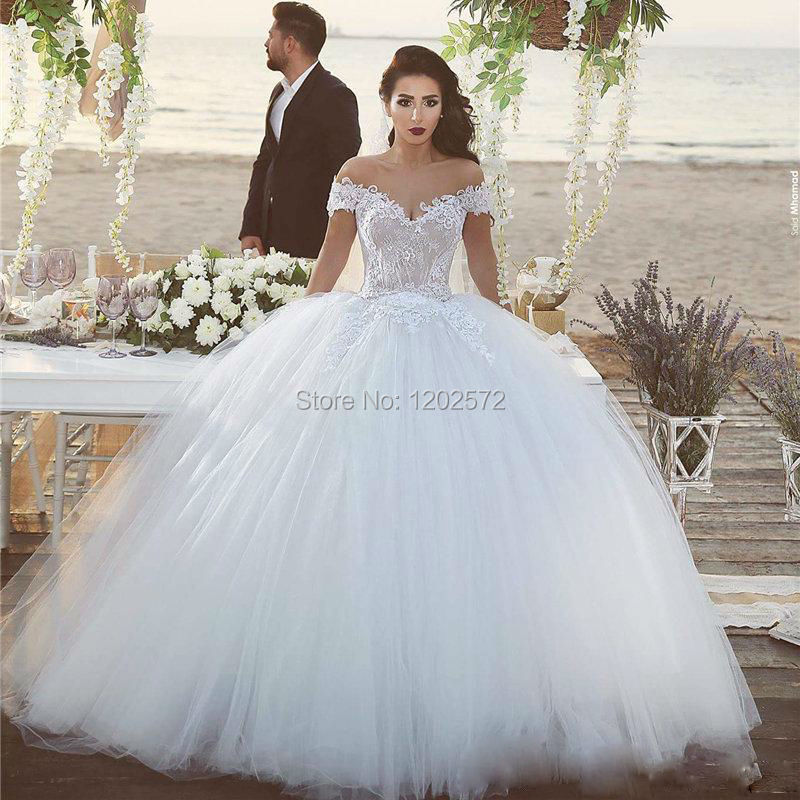 Ball Gown Wedding Dress Royal Style Sequin Appliques