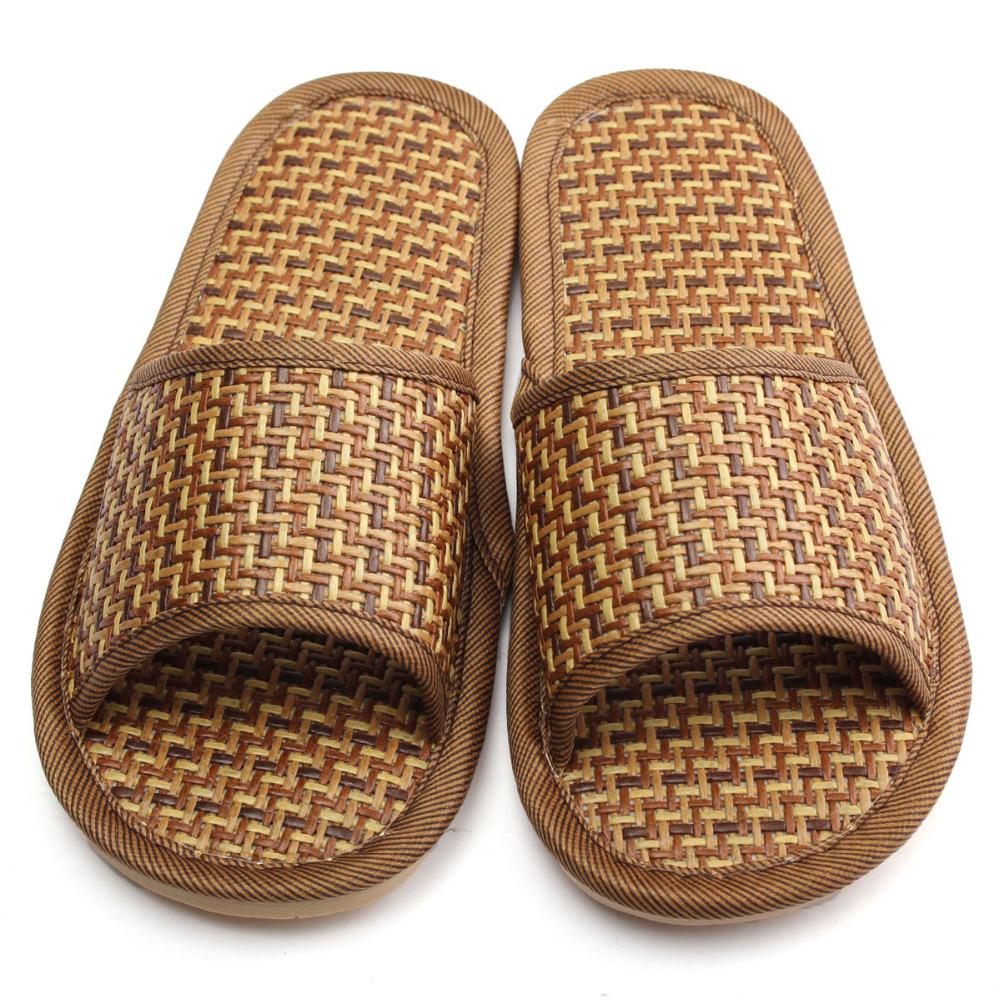 2f9b38ac70a1b Хороший онлайн магазин: Натуральный бамбук обувь лето лен слиппер для дома  внутренний противоскользящих мужчины и женщины циновка из ротанга нижний  тапочки
