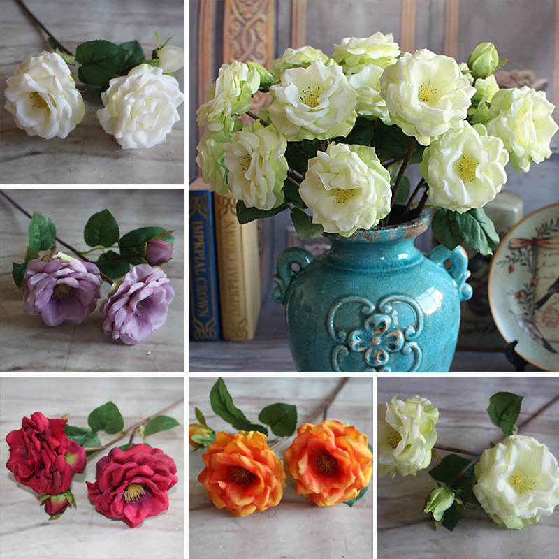New Pretty Artificial 3 Head Spring Rose 2 Full Open With One Bud Floral Decorative Home Party Decor