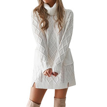c868159e159 Women s White Turtleneck Sweater Hollow Out Coarse Cable Knit Oversized  Sweater Dress Winter Women Warm Baggy