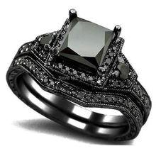 Size 5 11 Black Rhodium Princess Cut Wedding Engagement Ring Set Propose Statement Bridal Halo Cocktail