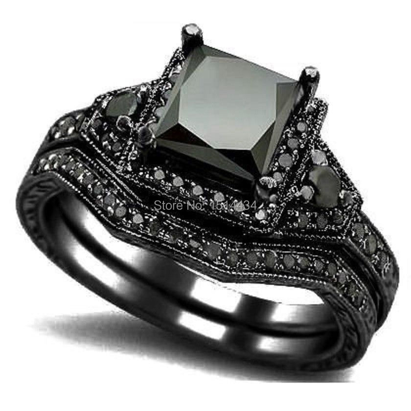 Aliexpress.com : Buy Size 5 11 Black Rhodium Princess Cut ...